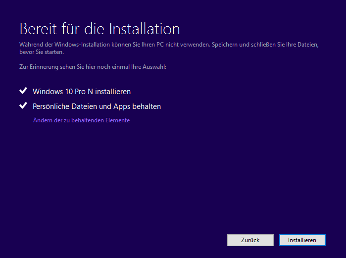 bereit zur installation: inplace upgrade